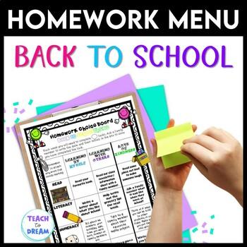 Homework Choice Board or Grid: Back to School Theme!