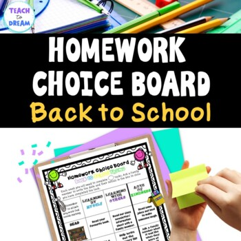 Homework Choice Board or Grid: Back to School Theme!