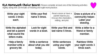 Homework Choice Boards