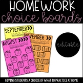 Homework Choice Boards - ALL YEAR