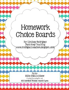 Homework Choice Boards- Fractions, Graphic Sources, Unknown Words