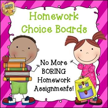 Homework Choice Boards - No More Boring Homework Assignmen