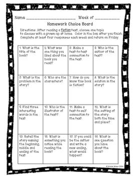 Homework Choice Boards-Reading