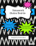 Homework Choice Boards-Reading