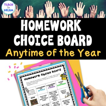 Homework Choice Grid or Board: Generic Theme. Anytime of the Year!