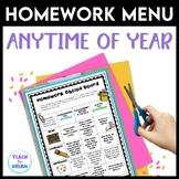 Homework Choice Board |  Homework Grid Anytime of the Year! | NO PREP