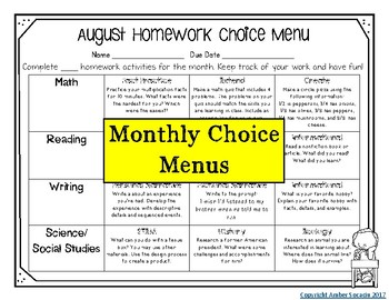 Homework Choice Menus for the Year