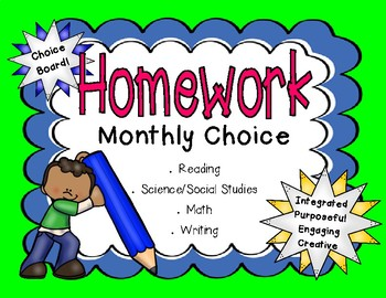 Homework Choice Menus for the Year