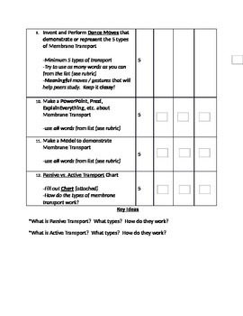 Homework Choices Packet for The Cell