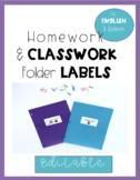 Student Organization Homework and Classwork Folder Labels