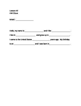 Homework Cloze ESL/ELA Adult
