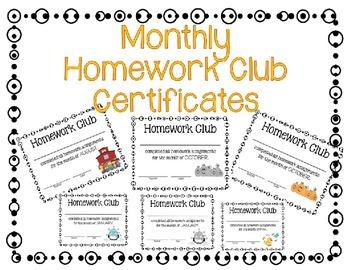 Homework Club Awards/Certificates Editable