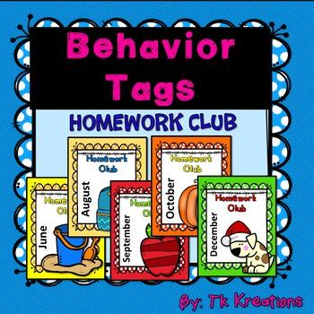 Homework Club Behavior Tags