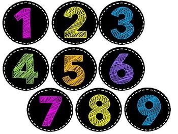 Homework Club - Black and Brights/ Chalk Board {EDITABLE NUMBERS}