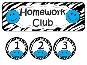 Homework Club ~ Blue Smiley Face and Zebra Print