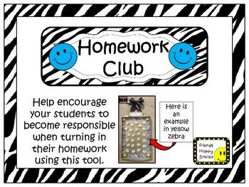 Homework Club ~ Blue Smiley Face and Zebra Print