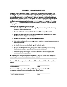 Homework Club Expectations & Permission Form