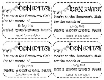 Homework Club HW Passes