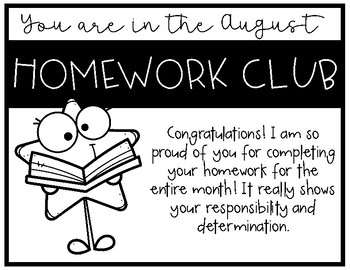 Homework Club Monthly and Generic Award Certificates
