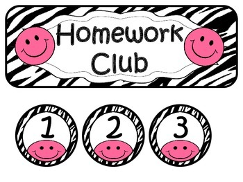 Homework Club ~ Pink Smiley Face and Zebra Print