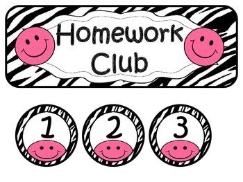 Homework Club ~ Pink Smiley Face and Zebra Print