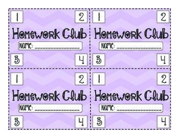 Homework Club Punch cards (Chevron Edition)