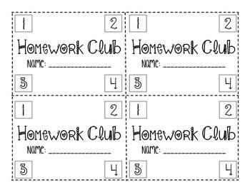 Homework Club Punch cards (Holidays Edition)