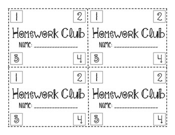 Homework Club Punch cards (Holidays Edition)
