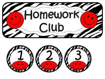 Homework Club ~ Red Smiley Face and Zebra Print
