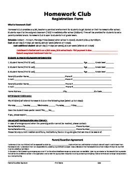 Homework Club Registration Form