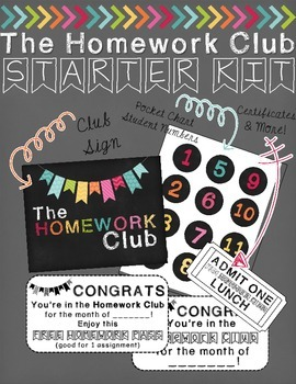 FREEBIE Homework Club Starter Kit (editable numbers)