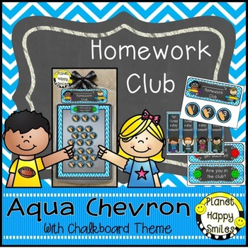 Homework Club and Bookmarks, Aqua and Chalkboard theme