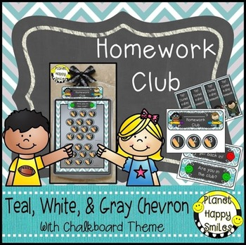 Homework Club and Bookmarks, Teal and Chalkboard theme