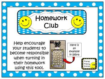 Homework Club in Aqua Polka Dot Print with Happy Faces
