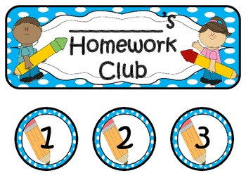 Homework Club in Aqua Polka Dot Print with Pencil