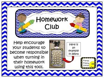 Homework Club in Blue Chevron Print with Pencil