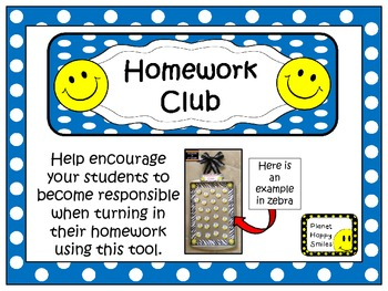 Homework Club in Blue Polka Dot Print with Happy Faces