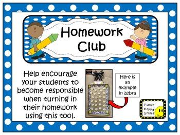 Homework Club in Blue Polka Dot Print with Pencil