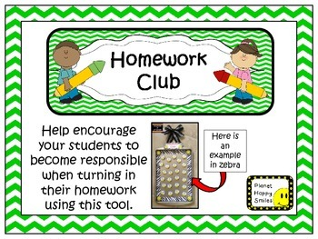 Homework Club in Green Chevron Print with Pencil
