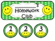 Homework Club in Green Polka Dot Print with Happy Faces