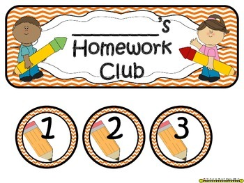 Homework Club in Orange Chevron Print with Pencil