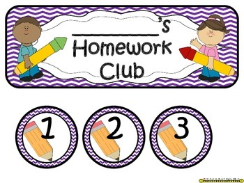 Homework Club in Purple Chevron Print with Pencil