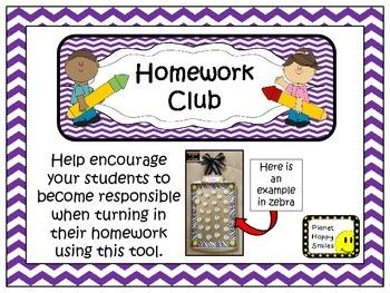 Homework Club in Purple Chevron Print with Pencil