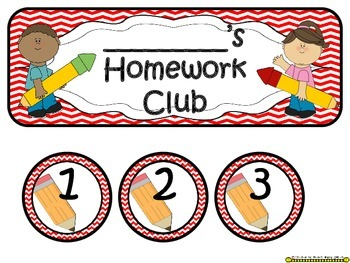 Homework Club in Red Chevron Print with Pencil