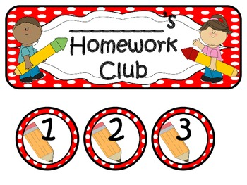 Homework Club in Red Polka Dot Print with Pencil
