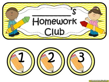 Homework Club in Yellow Chevron Print with Pencil