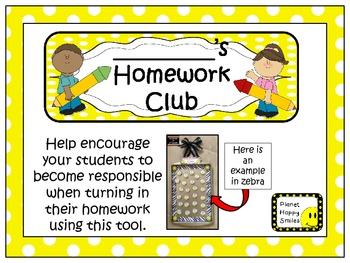 Homework Club in Yellow Polka Dot Print with Pencil