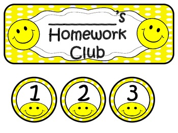 Homework Club in Yellow Polka Dot Print with Happy Faces