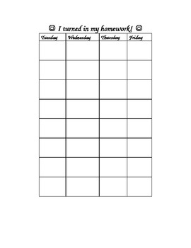 Homework Collection Chart For Student Homework Folders