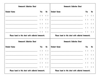 Homework Collection Sheet
